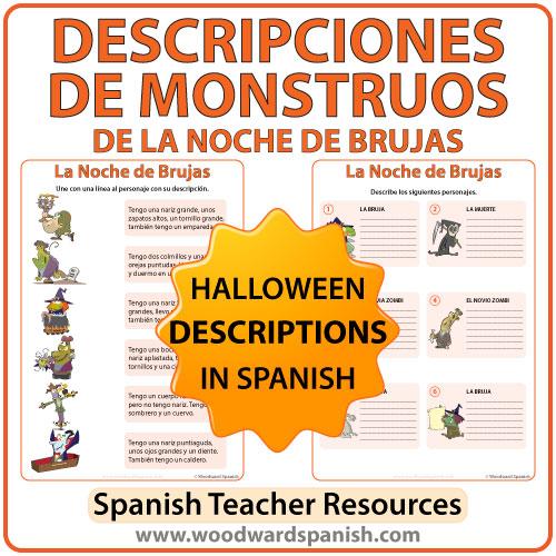 spanish halloween monster descriptions worksheets woodward spanish. Black Bedroom Furniture Sets. Home Design Ideas