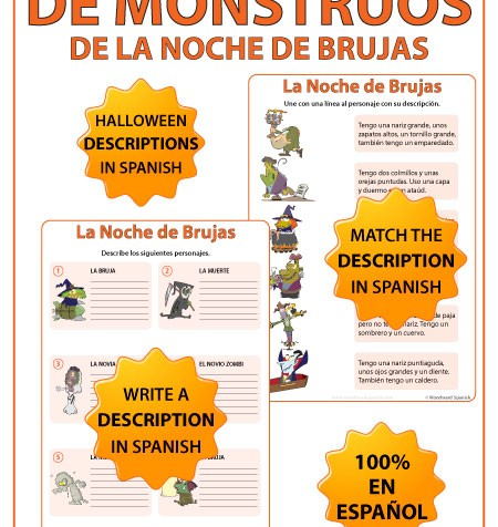 Spanish Halloween monster descriptions worksheets with cartoons