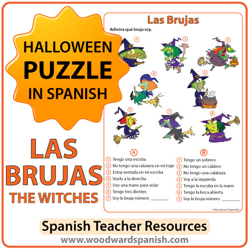 Spanish Halloween puzzle about witches (brujas) with a bonus coloring page