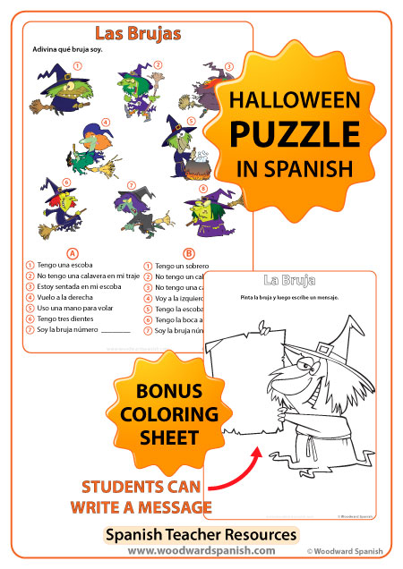 Spanish Halloween puzzle with vocabulary about witches (brujas). Includes a bonus coloring page with a witch holding a message.