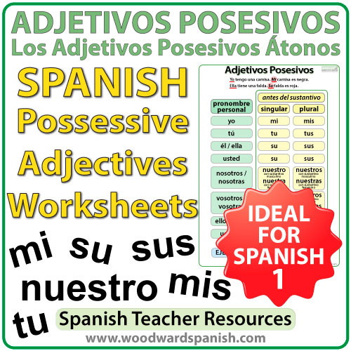 Spanish Possessive Adjectives Worksheets – Adjetivos ... - photo#5