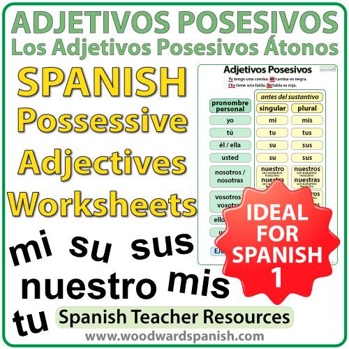 spanish possessive adjectives worksheets adjetivos posesivos woodward spanish. Black Bedroom Furniture Sets. Home Design Ideas