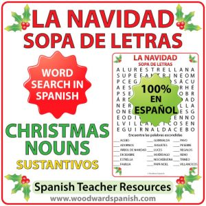 Word Search with Christmas Nouns in Spanish. Sopa de Letras - Sustantivos relacionados con la Navidad en español.