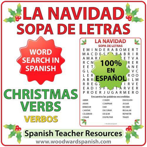 Spanish Christmas Verbs Word Search - Sopa de letras