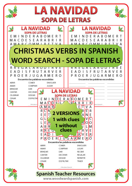 Spanish Christmas Verbs Word Search - Sopa de letras con verbos relacionados con la Navidad