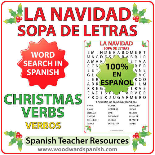 Spanish Christmas Verbs Word Search - Sopa de letras