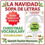 Word Search with Christmas Vocabulary in Spanish. Sopa de Letras usando vocabulario relacionado con la Navidad en español.