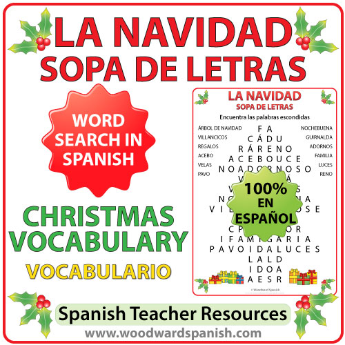 Word Search with Christmas Vocabulary in Spanish. Sopa de Letras usando vocabulario relacionado con la Navidad en español.