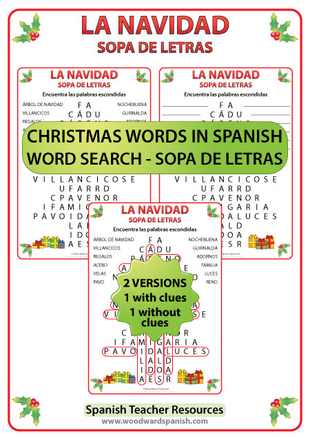 Word Search with Christmas Vocabulary in Spanish. Sopa de Letras ...