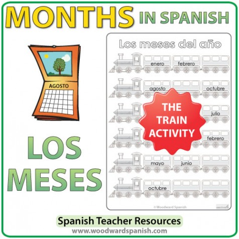 spanish months train worksheets woodward spanish. Black Bedroom Furniture Sets. Home Design Ideas