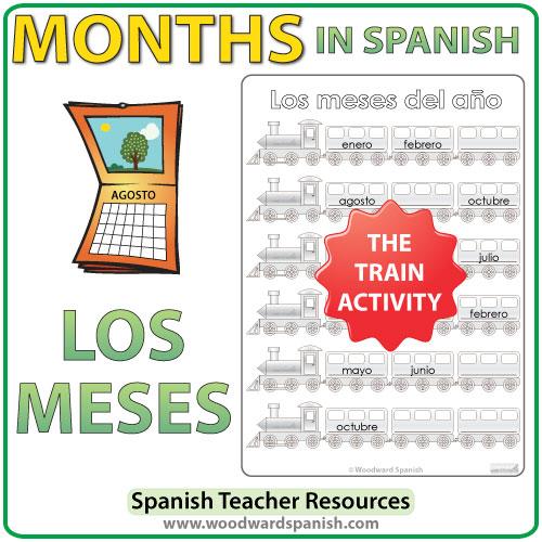 Spanish Months Worksheets - The trains. - Actividad con los meses del año en español - Los trenes