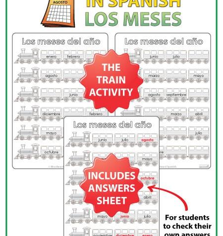 Spanish Months Worksheets - The trains. - Los meses del año en español - Spanish Teacher Resource