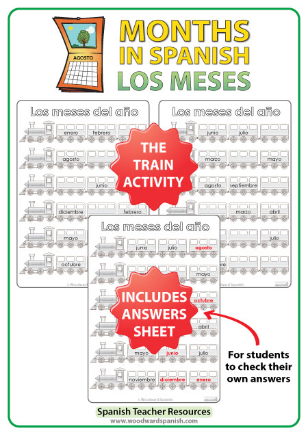 Spanish Months Worksheets - The trains. - Los meses del año en español - Spanish Teacher Resource