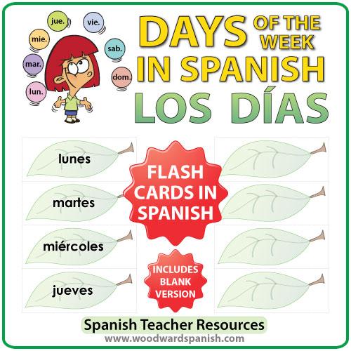 Spanish Flash Cards - Days of the week in Spanish. Tarjetas con los días de la semana en español