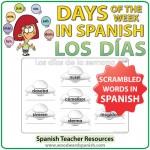 Spanish Days of the Week scrambled words worksheet - Los días de la semana