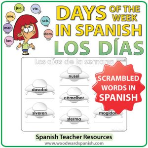 Spanish Days of the Week scrambled words worksheet - Los días de la semana