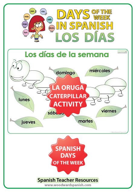 Spanish Days of the Week - Caterpillar Worksheet - Días de la semana - La oruga
