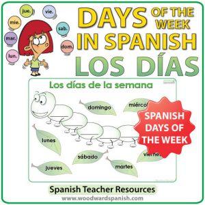 Spanish Days of the Week Worksheet - Caterpillar Activity - La oruga