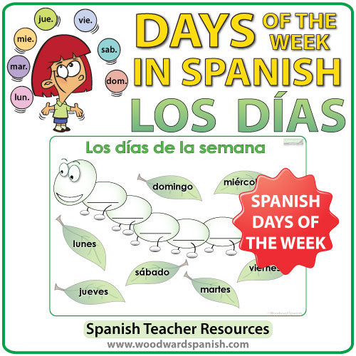 Spanish Days of the Week Worksheet - Caterpillar Activity - La oruga