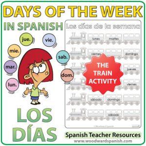 Spanish Days of the week Worksheets - The trains. - Actividad con los días de la semana en español - Los trenes