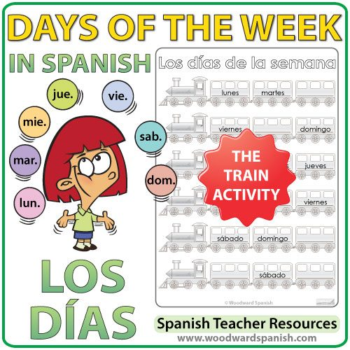 Spanish Days of the week Worksheets - The trains. - Actividad con los días de la semana en español - Los trenes