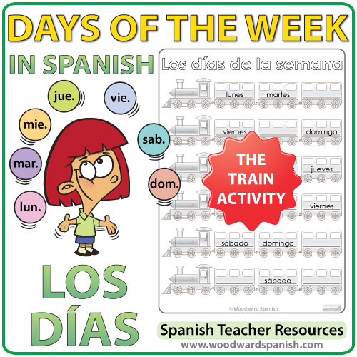 spanish days train worksheets woodward spanish. Black Bedroom Furniture Sets. Home Design Ideas