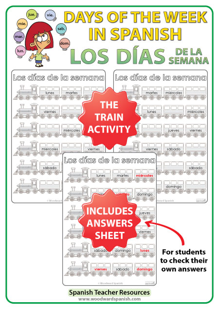 Spanish days of the week Worksheets - The trains. - Los días de la semana en español - Los trenes