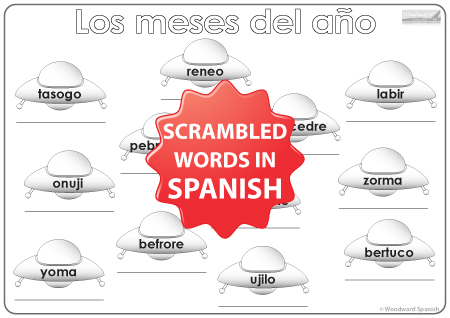 Spanish Months Worksheet - UFOs - Los meses del año en español - los ovnis
