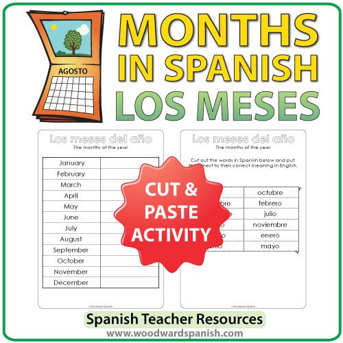 Spanish months cut and paste activity - los meses del año en español - actividad de cortar y pegar.