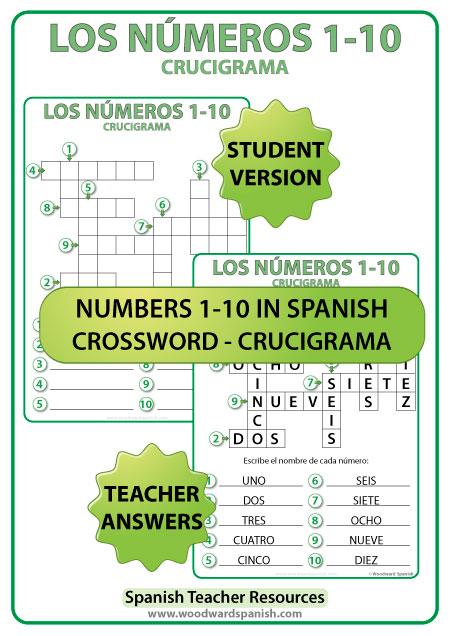 Crossword with the Spanish numbers from 1 to 10. Crucigrama con los números del 1 al 10 en español.