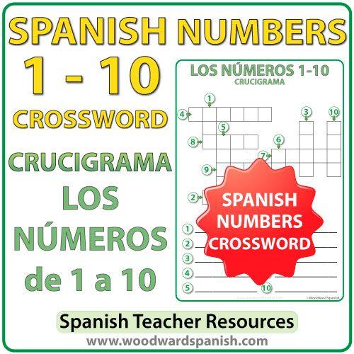 Crossword with the numbers from 1 to 10 in Spanish. Crucigrama con los números de 1 a 10 en español.