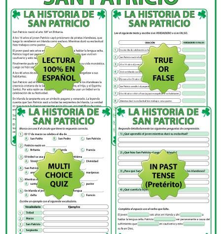 A Reading Passage in Spanish about the History of Saint Patrick with comprehension questions. Una lectura de La Historia de San Patricio con preguntas de comprensión.