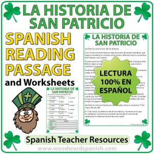 A Reading Passage in Spanish about the History of Saint Patrick with comprehension questions. Una lectura de La Historia de San Patricio con preguntas de comprensión.