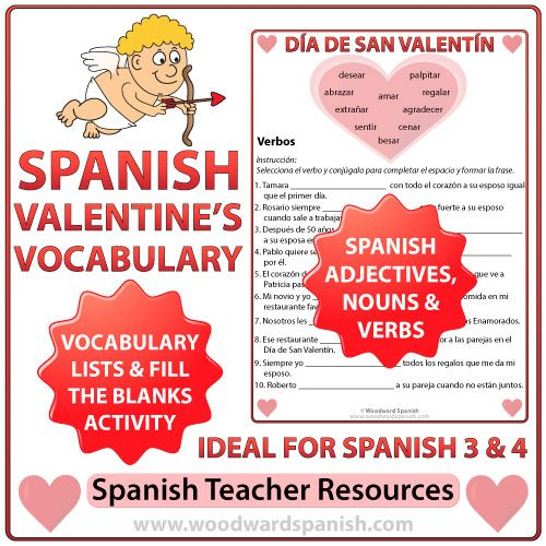 Spanish Valentine's Day Vocabulary Lists with Fill the Blanks Worksheets.