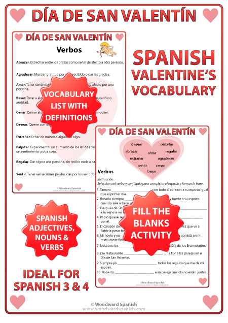 Spanish Valentine's Day Teacher Resource with Vocabulary and Fill the Blanks Worksheets.