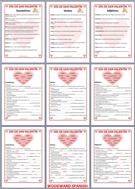 Spanish Valentine's Day Vocabulary Worksheets.