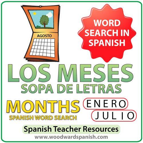 Months of the Year - Spanish Word Search - Sopa de Letras de los meses del año