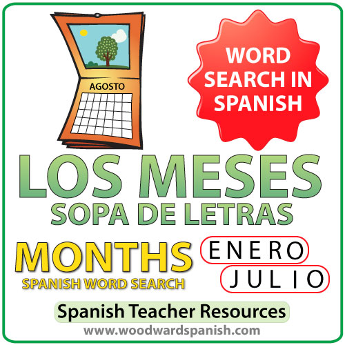 Months of the Year - Spanish Word Search - Sopa de Letras de los meses del año