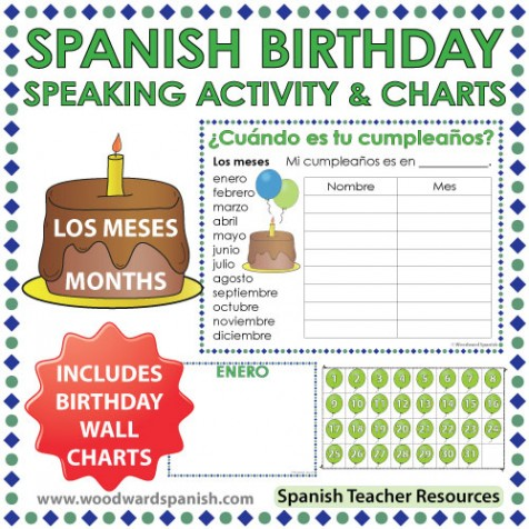 spanish months birthday speaking activity and wall charts woodward spanish. Black Bedroom Furniture Sets. Home Design Ideas