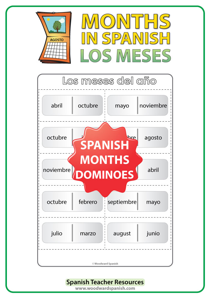 Spanish months of the year dominoes game - juego de los meses del año