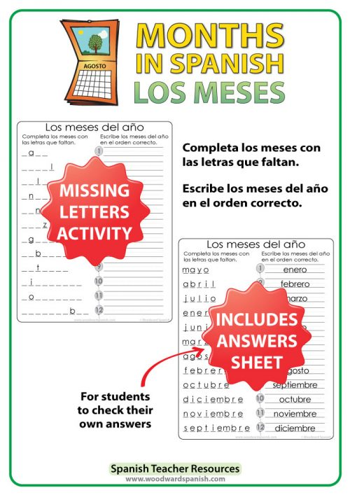 Spanish months - missing letters activity - los meses del año en español