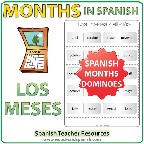 Spanish months of the year dominoes - meses del año