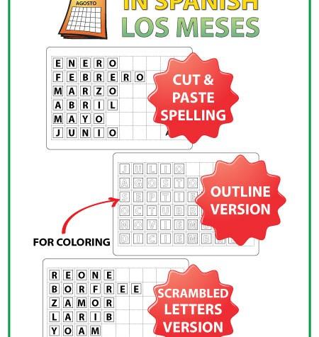 Spanish months - Cut and paste spelling activity - Los meses del año en español
