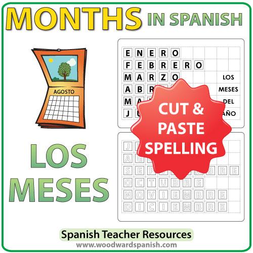 Spanish months spelling - Cut and Paste Activity - Los meses del año en español