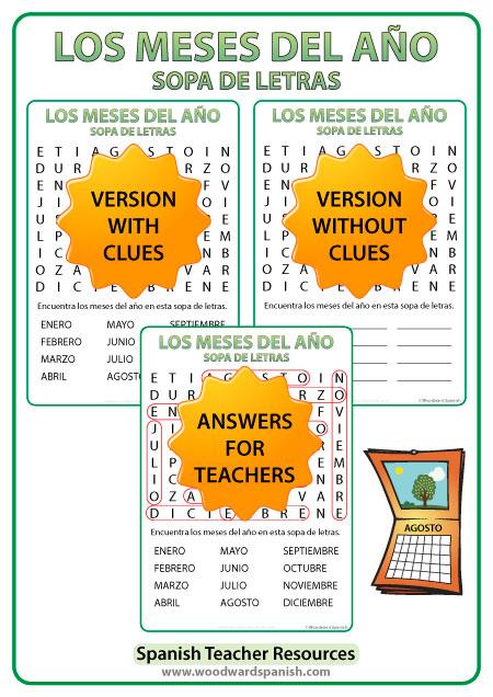 Spanish Months Word Search - Sopa de Letras con los meses del año en español