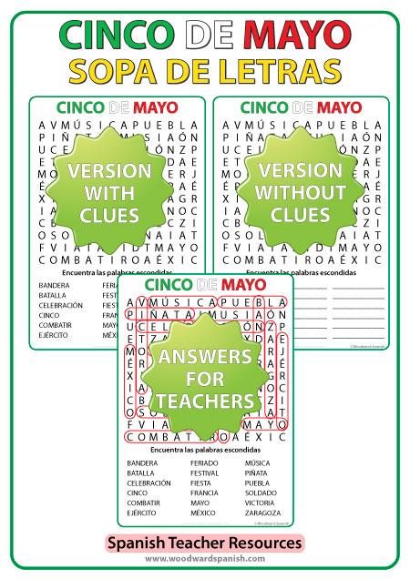 Word Search with Vocabulary about Mexico's Cinco de Mayo in Spanish. Sopa de Letras - Vocabulario relacionado con el Cinco de Mayo en español.