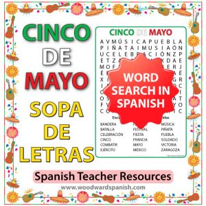 Word Search with Vocabulary about Mexico's Cinco de Mayo in Spanish. Sopa de Letras - Vocabulario relacionado con el Cinco de Mayo en español.
