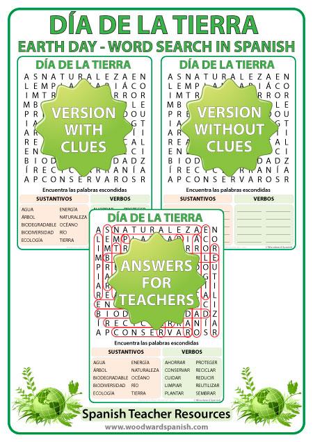 Día de la Tierra - Sopa de Letras - Earth Day in Spanish Word Search