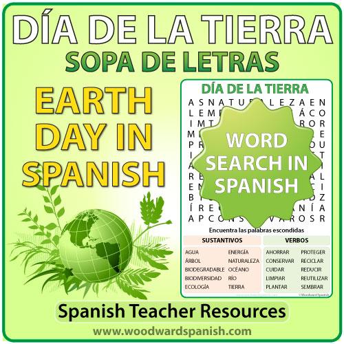Word Search with Earth Day Vocabulary in Spanish. Sopa de Letras - Vocabulario relacionado con el Día de la Tierra en español.