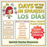 Spanish Days of the Week Flash Cards / Charts. Tarjetas y afiches con los días de la semana en español para profesores.
